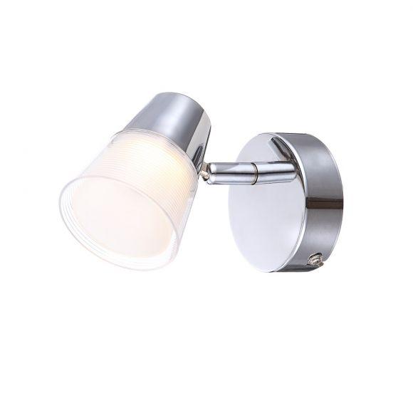 LED-Wandleuchte mit Kunststoffglas, 1x3W + LED Taschenlampe