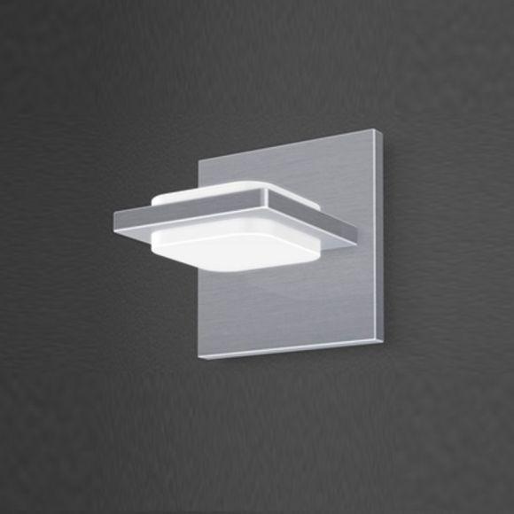 LED-Wandleuchte in Nickel-matt, Arcyl weiß