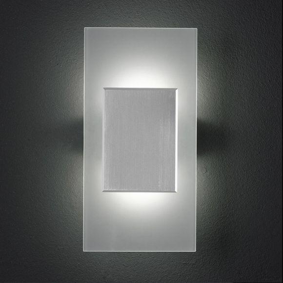 led wandleuchte satiniertes glas mit aluminium inklusive 2x3 5watt warmwei 2700k wohnlicht. Black Bedroom Furniture Sets. Home Design Ideas