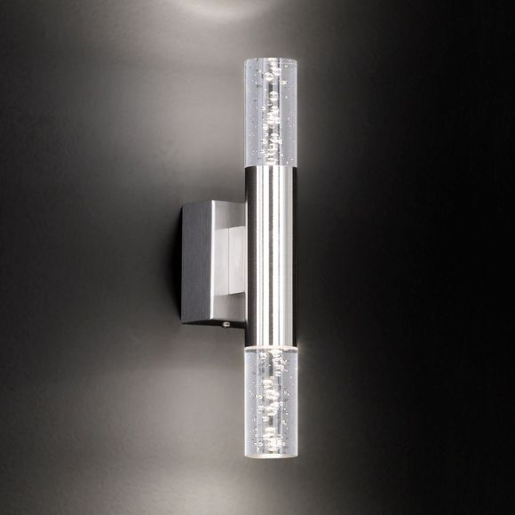 LED-Wandleuchte, Blasenglas, modern, warmweiß