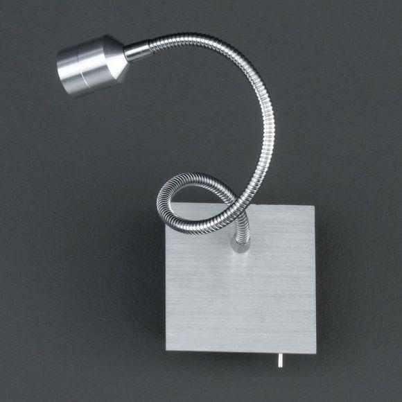 LED-Wandleuchte, 1 x 3W Power LED, aluminiumfarbig und Chrom