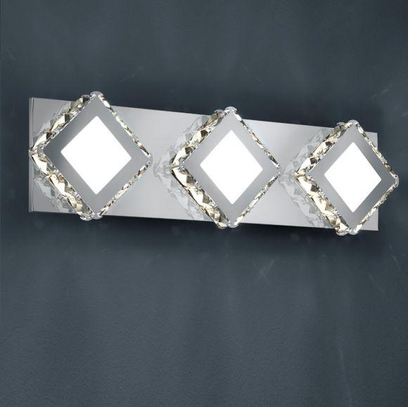 LED-Wandleuchte - verchromtes Metall, geschliffenes Kristallglas klar - inkl. 3 × SMD 4.5 W  LED, 400lm, 3000°K, A+ + Extra 1x GU10 LED Leuchtmittel zur freien Nutzung