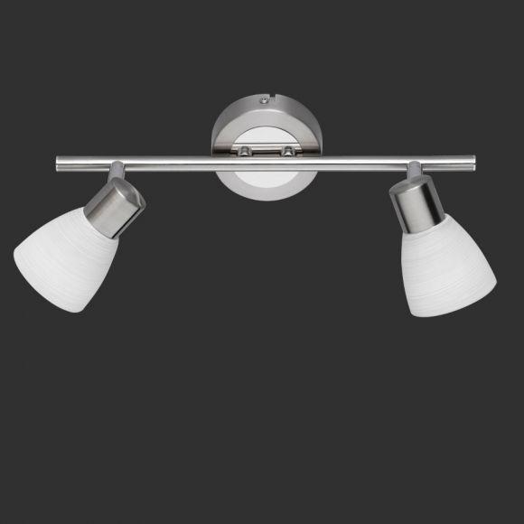 LED-Wand- oder Deckenstrahler -  Nickel matt und Chrom - 2- flammig + Extra LED Leuchtmittel G9 2er Pack