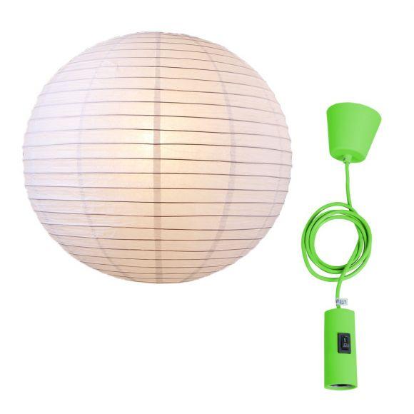 LHG Leuchtenpendel, Aufhängung grün, Japankugel Weiß, D 60 cm