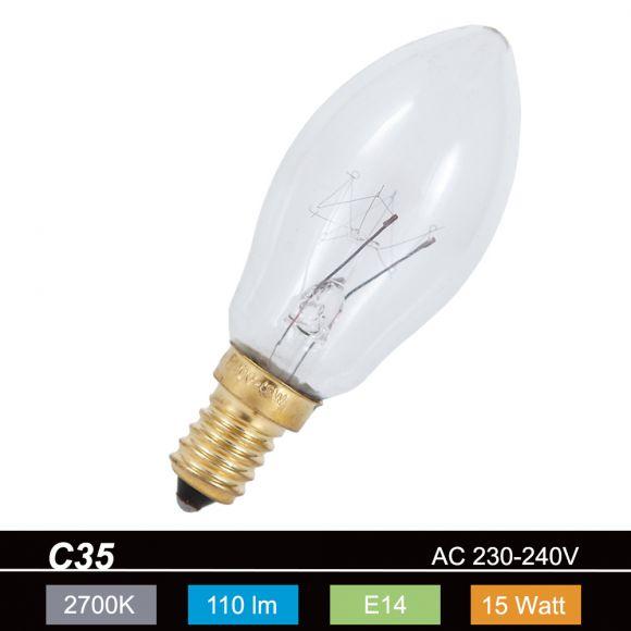 Leuchtmittel C35 Kerze klar  15W  E14