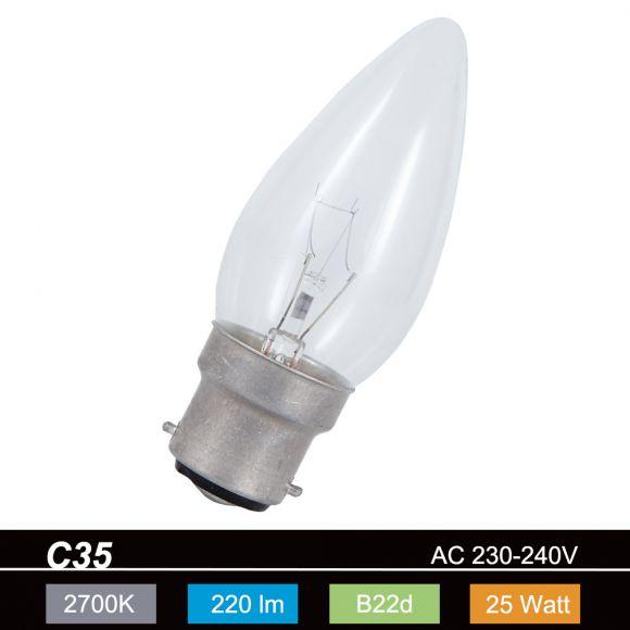 Leuchtmittel C35 Kerze  klar  B22d 25W