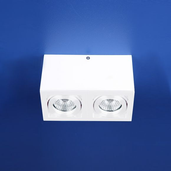 LHG Deckenlampe, 2-flammig, weiß, Spots schwenkbar, inkl Halogen 35W
