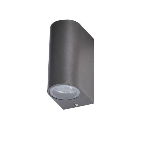 LHG kleine Up & Down LED Außenwandleuchte halbrund in schwarz aus hochwertigem Aluminiumdruckguss, H: 10,5cm , inkl. LED GU10 Leuchtmittel, Außenleuchte ideal für Hauswand oder Hauseingang