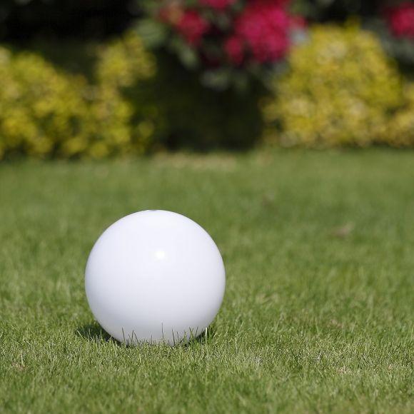 LHG Kugelleuchte 20cm für Außen ohne Stromkabel, Garten Kugellampe aus weißem Kunststoff, IP44 Outdoor geeignet, E27 Fassung