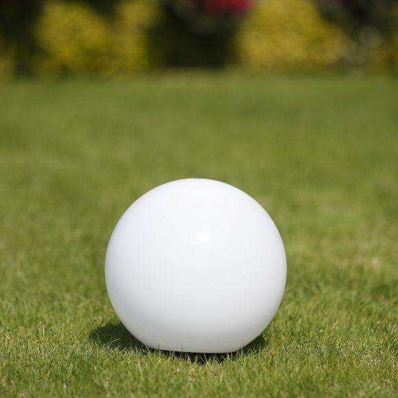 LHG Kugelleuchte 25cm für Außen ohne Stromkabel, Garten Kugellampe aus weißem Kunststoff, IP44 Outdoor geeignet, E27 Fassung