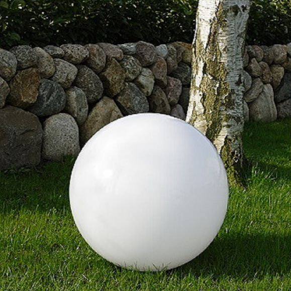 LHG Kugelleuchte 60cm für Außen ohne Stromkabel, Garten Kugellampe aus weißem Kunststoff, IP44 Outdoor geeignet, E27 Fassung