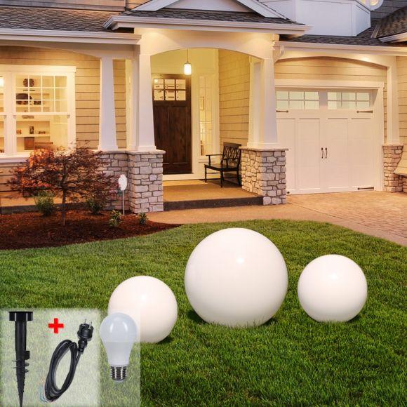 LHG Kugelleuchten 3er Set 2x 40cm & 1x 60cm für Außen mit Erdspieß & Stromkabel, inkl. E27 LED, Garten Kugellampen aus weißem Kunststoff, IP44 Outdoor geeignet, E27 Fassung