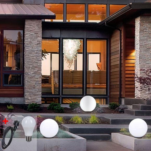 LHG Kugelleuchten 3er Set 3x 30cm für Außen mit Stromkabel, inkl. E27 LED warmweiß, Garten Kugellampen aus weißem Kunststoff, IP44 Outdoor geeignet, E27 Fassung
