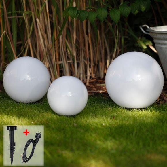 LHG Kugelleuchten 3er Set 30, 40, 50cm für Außen mit Erdspießen und Stromkabel, Garten Kugellampen aus weißem Kunststoff, IP44 Outdoor geeignet, E27 Fassung