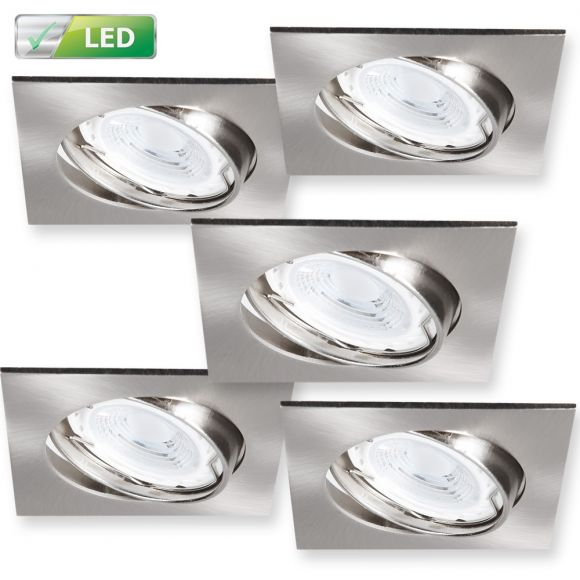 LHG LED-Einbaustrahler 5er-Set Chrom matt, eckig - 5 x GU10 3W