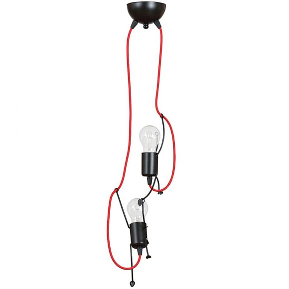 LHG Pendelleuchte, Männchen, schwarz-rot, 2-flammig, 2x LED E27 4,5 W