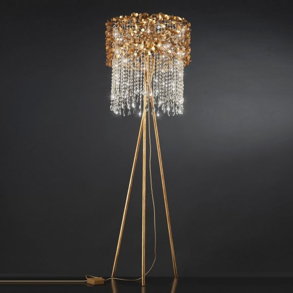 Luxuriöse Stehleuchte als Dreibein - Blattgold - Kristallbehang