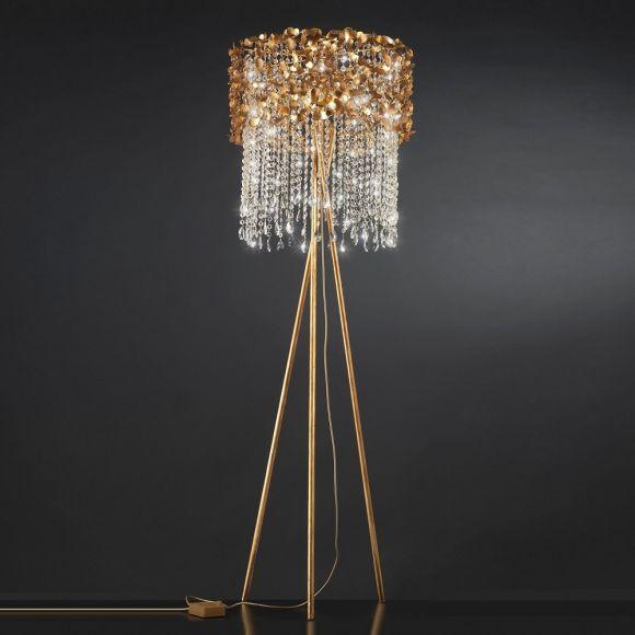 Luxuriöse Stehleuchte als Dreibein - Blattgold - Kristallbehang - Stativleuchte, Tripod