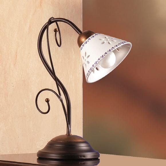 mediterrane tischleuchte keramikschirme metallkorpus. Black Bedroom Furniture Sets. Home Design Ideas