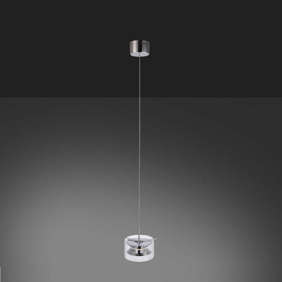 Moderne 1-flammige LED- Pendelleuchte in Chrom - Durchmesser Ø 17 cm - inklusive 1x 4,8 W LED