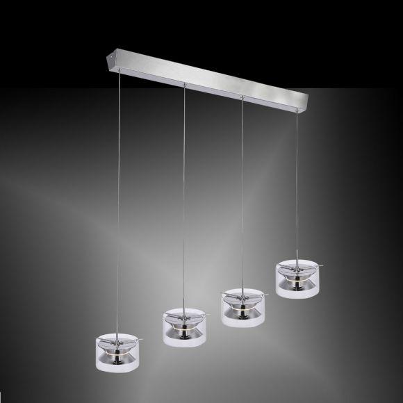 Moderne 4-flammige LED- Pendelleuchte in Chrom - 87 cm x 17 cm - inklusive 4x 4,8 W LED