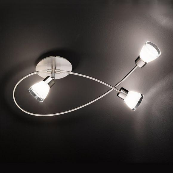 LHG Moderne Deckenleuchte in Nickel-matt - 3-flammig - inklusive Halogen-Leuchtmittel + Extra 1x GU10 LED Leuchtmittel zur freien Nutzung