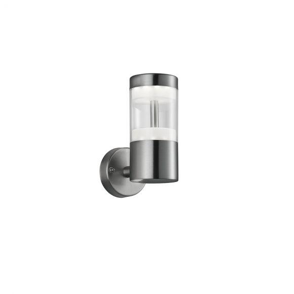 Moderne LED Außen Wandleuchte - Edelstahl - Kunststoff klar - Inklusive LED 7 Watt  450 Lumen  3000 Kelvin