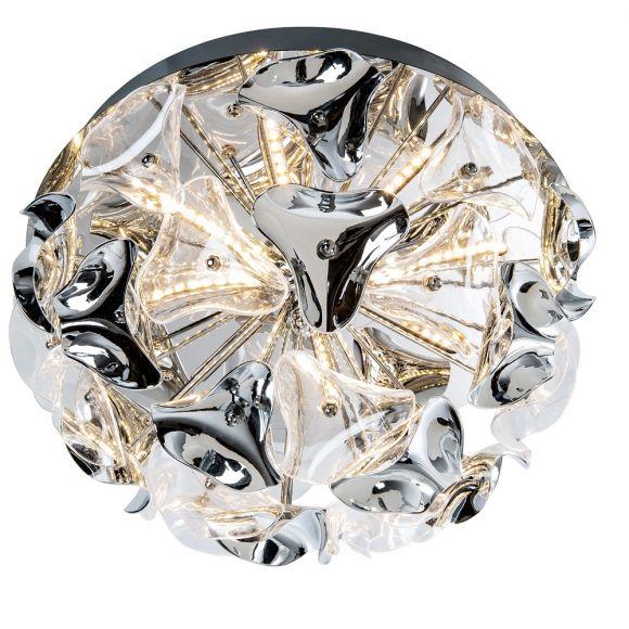 Moderne LED Deckenleuchte aus Chrom und klarem Acrylglas - 2 Größen - Inklusive LED 12 bzw. 15 Watt