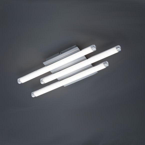 Moderne LED Deckenleuchte in Chrom mit drei weißen Acrylarmen - inklusive 3x 4,5 Watt LED Leuchtmittel