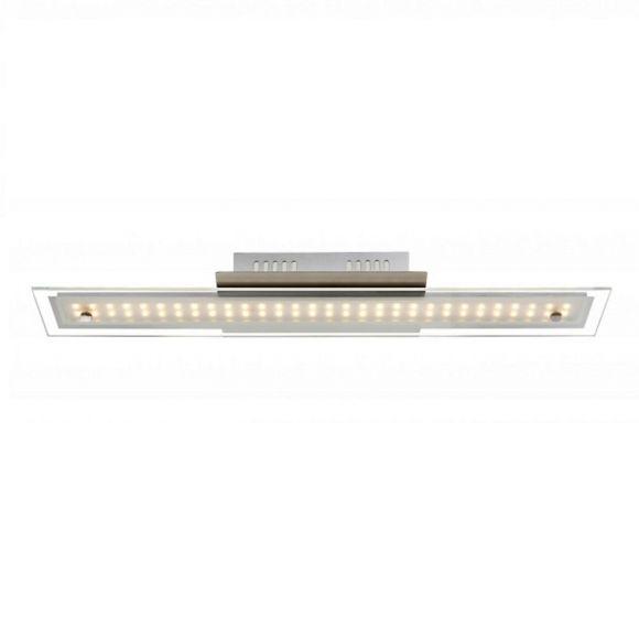 LHG Moderne LED Deckenleuchte in chrom mit satinierter Glasplatte - 60 cm Länge - inklusive  LED Taschenlampe