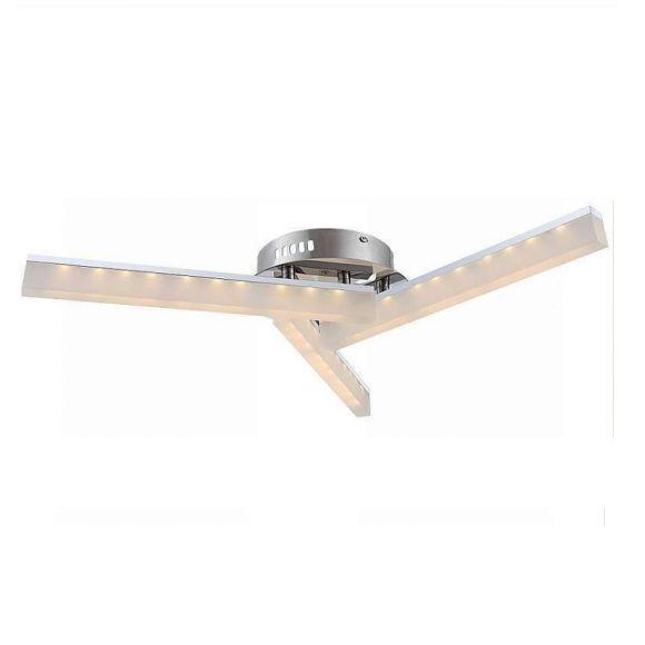 LHG Moderne LED Deckenleuchte chrom mit 3 Acrylglasstäben, 3 x 5Watt, 3000°K, inklusive LED-Taschenlampe