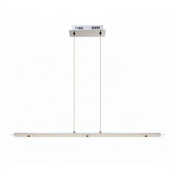 Moderne LED Pendelleuchte in chrom mit satinierter Glasplatte - 90 cm Länge, inklusive LED Taschenlampe