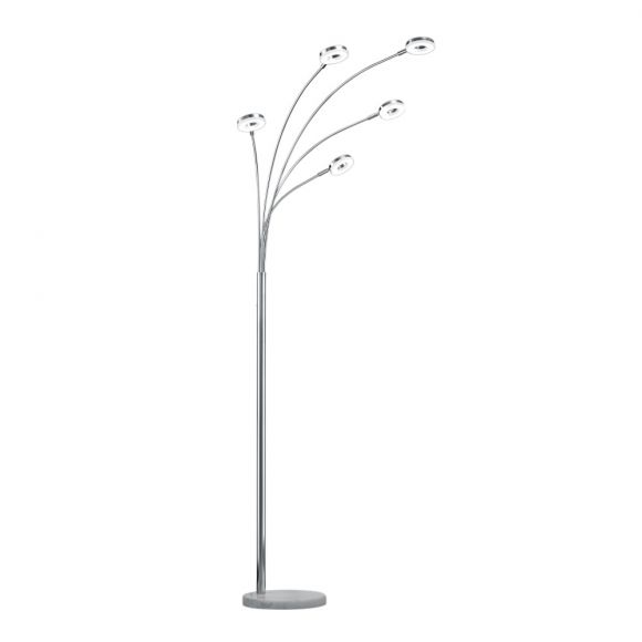 Moderne LED Stehleuchte aus verchromtem Metall mit Keramikfuß in weiß - inklusive 5x 4W LED Leuchtmittel