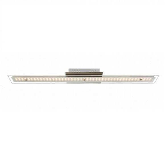 Moderne LED-Deckenleuchte in chrom mit satinierter Glasplatte - 90 cm Länge - inklusive  LED Taschenlampe