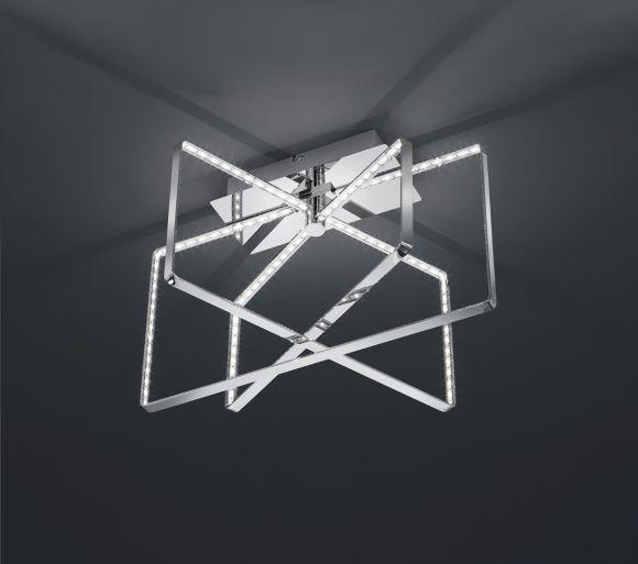 Moderne LED- Deckenleuchte mit eckigen Leuchtschirmen - Chrom - inklusive 3x 8 Watt LED