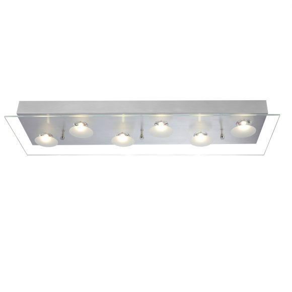 Moderne LED-Deckenleuchte - Aluminium - Glas klar und satiniert - Inklusive LED 6 x 5 Watt  1992 Lumen  3200 Kelvin