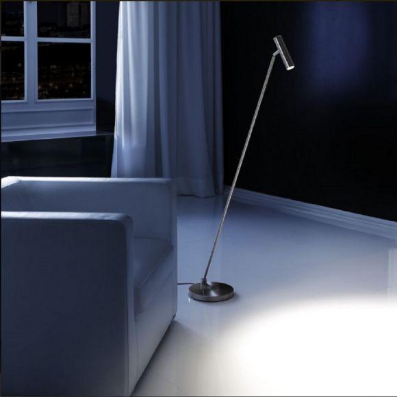 Moderne LED-Stehleuchte in Nickel-matt - Tastdimmer