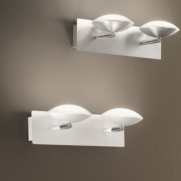 Moderne LED-Wandleuchte 2-flg -  Alu-gebürstet oder Weiß