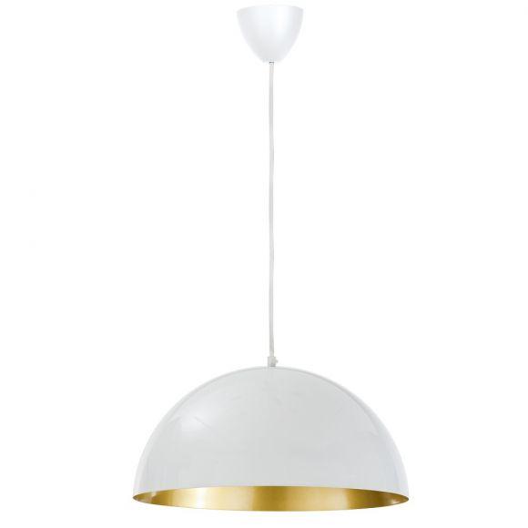 Moderne Pendelleuchte - Weiß - Innen Gold