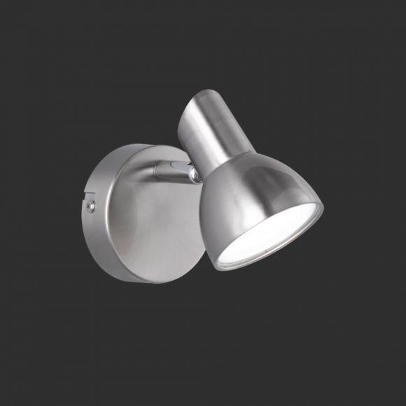 Moderner 1-flammiger Wandstrahler in Nickel-matt - inklusive LED-Leuchtmittel 1x 4,4 Watt - schwenkbar + Extra 1x GU10 LED Leuchtmittel zur freien Nutzung
