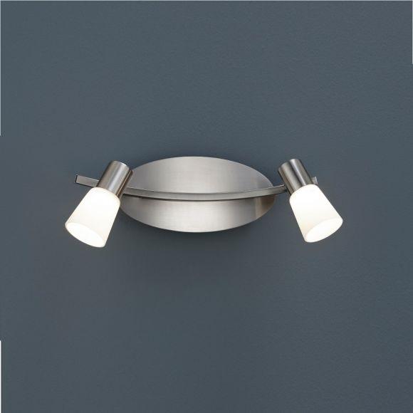 Moderner 2-flammiger Wand- oder Deckenstrahler in Nickel-matt mit Opalglas - inklusive LED-Leuchtmittel 2x 4,5 Watt  + Extra 1x GU10 LED Leuchtmittel zur freien Nutzung