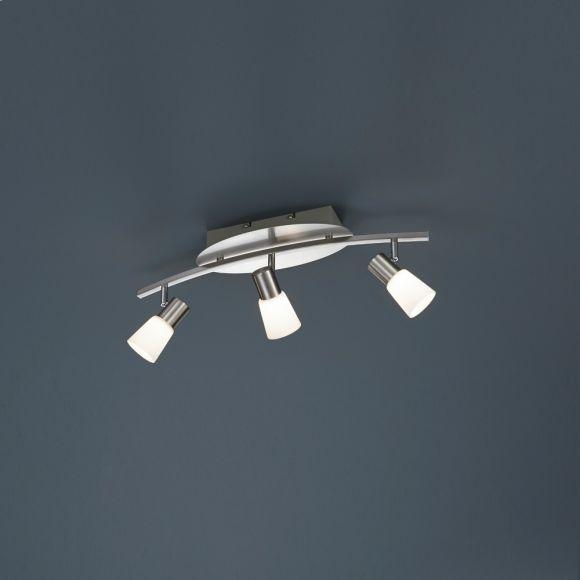 Moderner 3-flammiger Deckenstrahler in Nickel-matt mit Opalglas - inklusive LED-Leuchtmittel 3x 4,5 Watt + Extra 1x GU10 LED Leuchtmittel zur freien Nutzung