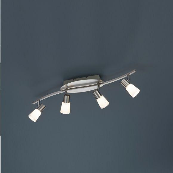 Moderner 4-flammiger Deckenstrahler in Nickel-matt mit Opalglas - inklusive LED-Leuchtmittel 4x 4,5 Watt + Extra 1x GU10 LED Leuchtmittel zur freien Nutzung