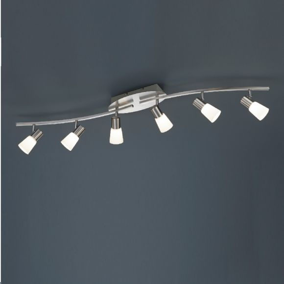 Moderner 6-flammiger Deckenstrahler in Nickel-matt mit Opalglas - inklusive LED-Leuchtmittel 6x 4,5 Watt  + Extra 1x GU10 LED Leuchtmittel zur freien Nutzung