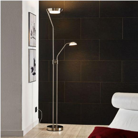 moderner led fluter dimmbar mit lesearm oberfl che w hlbar wohnlicht. Black Bedroom Furniture Sets. Home Design Ideas