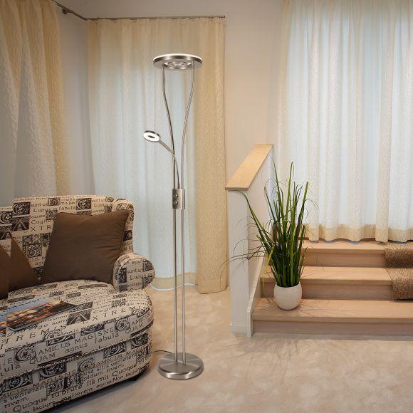 Moderner led deckenfluter mit lesearm wohnlicht for Deckenfluter modern