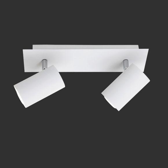 LHG Moderner Wand- oder Deckenstrahler aus Metall mit schwenkbaren Schirmen - 2-flammig - weiß + Extra 2x GU10 LED Leuchtmittel zur freien Nutzung
