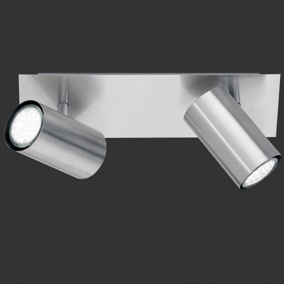 LHG Moderner Wand- oder Deckenstrahler aus Metall mit schwenkbaren Schirmen - 2-flammig - Nickel-matt