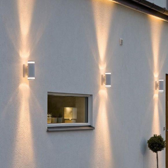 Moderner Wandstrahler in Weiß als up and down inklusive Leuchtmittel