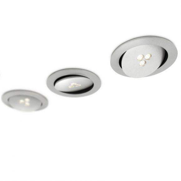 Modernes LED-3er-Einbaustrahler-Set - Rund - Schwenkbar - Aluminium - Aluminimfarbig